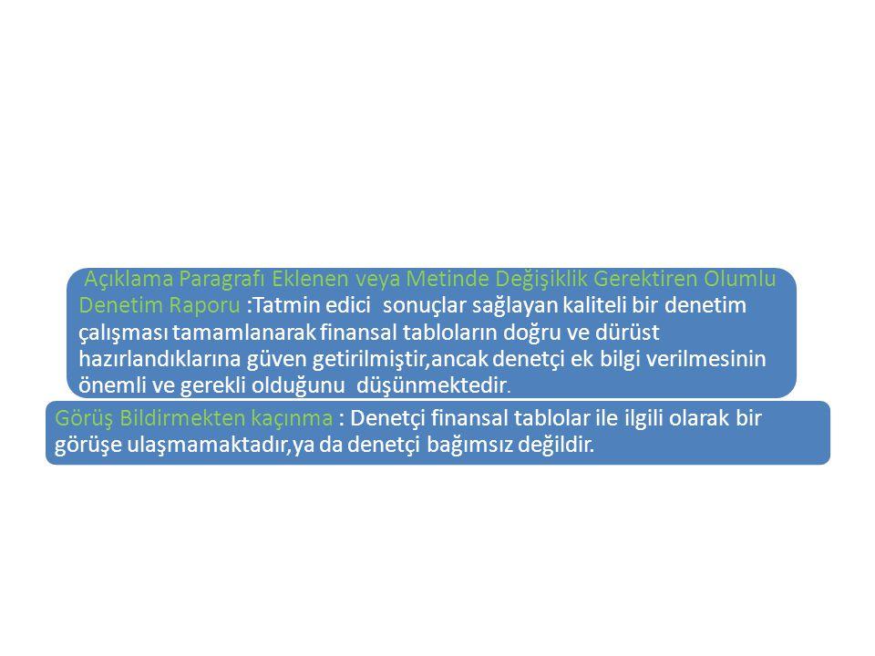 Açıklama Paragrafı Eklenen veya Metinde Değişiklik Gerektiren Olumlu Denetim Raporu :Tatmin edici sonuçlar sağlayan kaliteli bir denetim çalışması tam