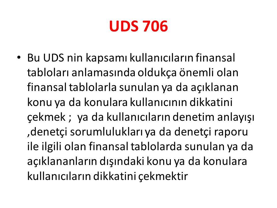 UDS 706 Bu UDS nin kapsamı kullanıcıların finansal tabloları anlamasında oldukça önemli olan finansal tablolarla sunulan ya da açıklanan konu ya da ko