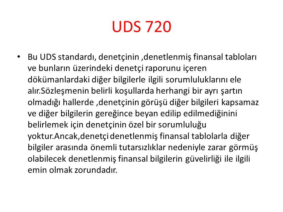 UDS 720 Bu UDS standardı, denetçinin,denetlenmiş finansal tabloları ve bunların üzerindeki denetçi raporunu içeren dökümanlardaki diğer bilgilerle ilg