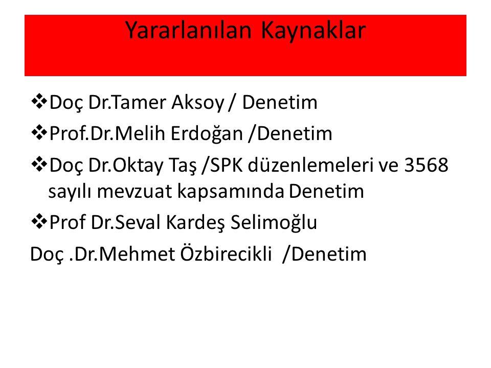 Yararlanılan Kaynaklar  Doç Dr.Tamer Aksoy / Denetim  Prof.Dr.Melih Erdoğan /Denetim  Doç Dr.Oktay Taş /SPK düzenlemeleri ve 3568 sayılı mevzuat ka