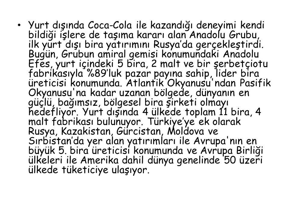 Yurt dışında Coca-Cola ile kazandığı deneyimi kendi bildiği işlere de taşıma kararı alan Anadolu Grubu, ilk yurt dışı bira yatırımını Rusya'da gerçekleştirdi.