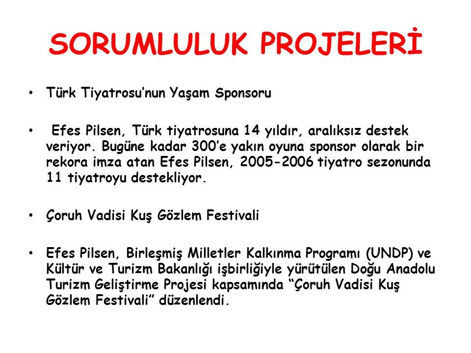 SORUMLULUK PROJELERİ Türk Tiyatrosu'nun Yaşam Sponsoru Efes Pilsen, Türk tiyatrosuna 14 yıldır, aralıksız destek veriyor.