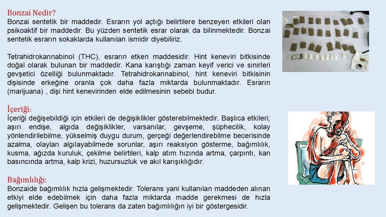 Bonzai Nedir? Bonzai sentetik bir maddedir. Esrarın yol açtığı belirtilere benzeyen etkileri olan psikoaktif bir maddedir. Bu yüzden sentetik esrar ol
