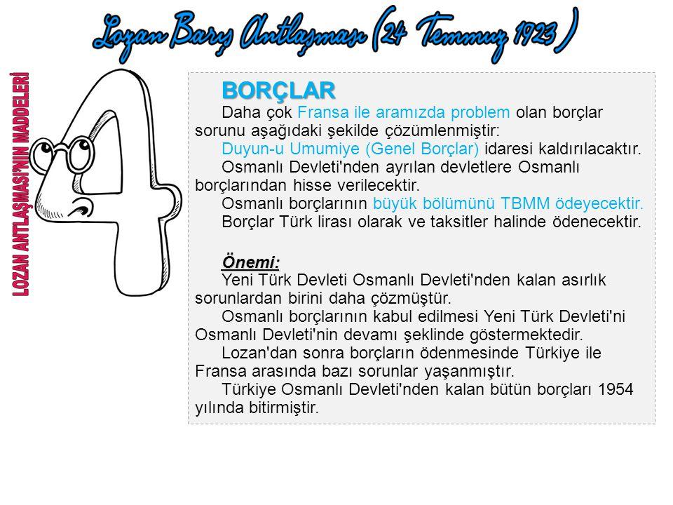 BOĞAZLAR Boğazların idaresi, başkanlığını bir Türk'ün yapacağı uluslararası komisyona bırakılmıştır. Boğazların her iki yakasında 20'şer km.lik askerd