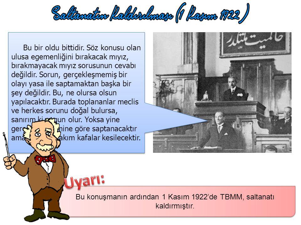 Kurtuluş Savaşı bittikten sonra İtilaf Devletleri Lozan Barış Antlaşması'nı imzalamak üzere TBMM ve İstanbul Hükümeti'ni çağırmıştır. İstanbul hükümet