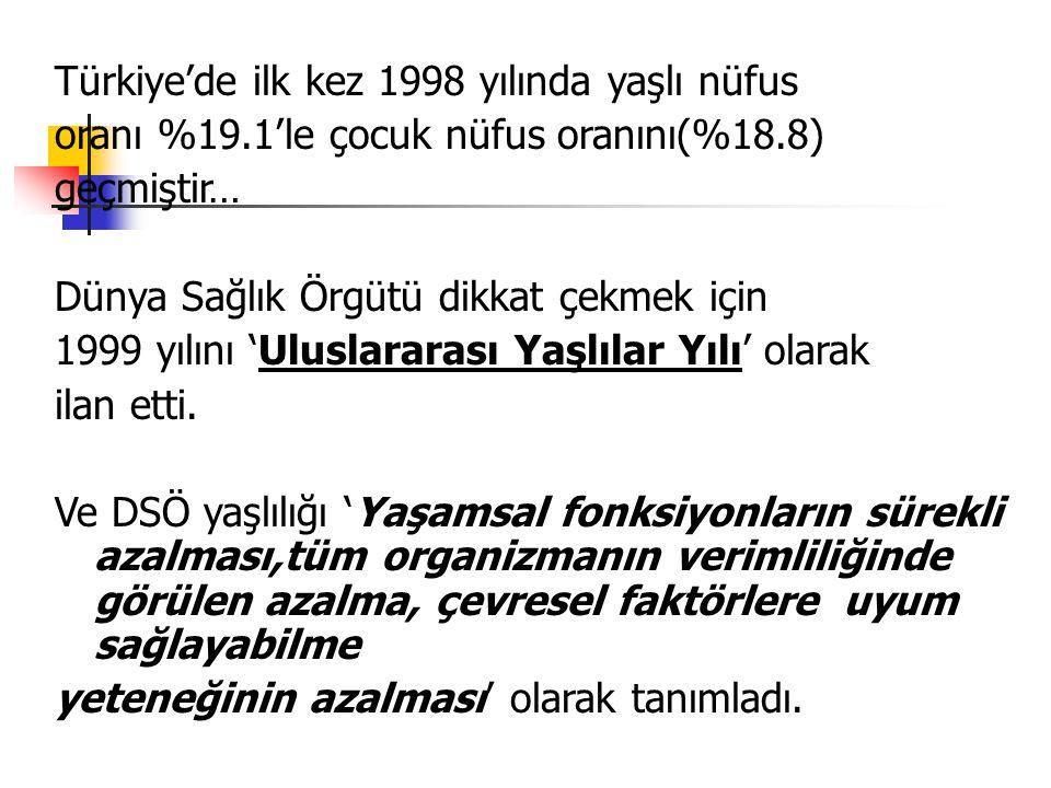 Türkiye'de yaşlı grupta mide-barsak ve akciğer kanserleri, serebrovasküler hastalıklar, inmeler, iskemik kalp hastalıkları, solunum sistemi hastalıkları ve kazalar en sık ölüm nedenleri olarak bildirilmektedir.