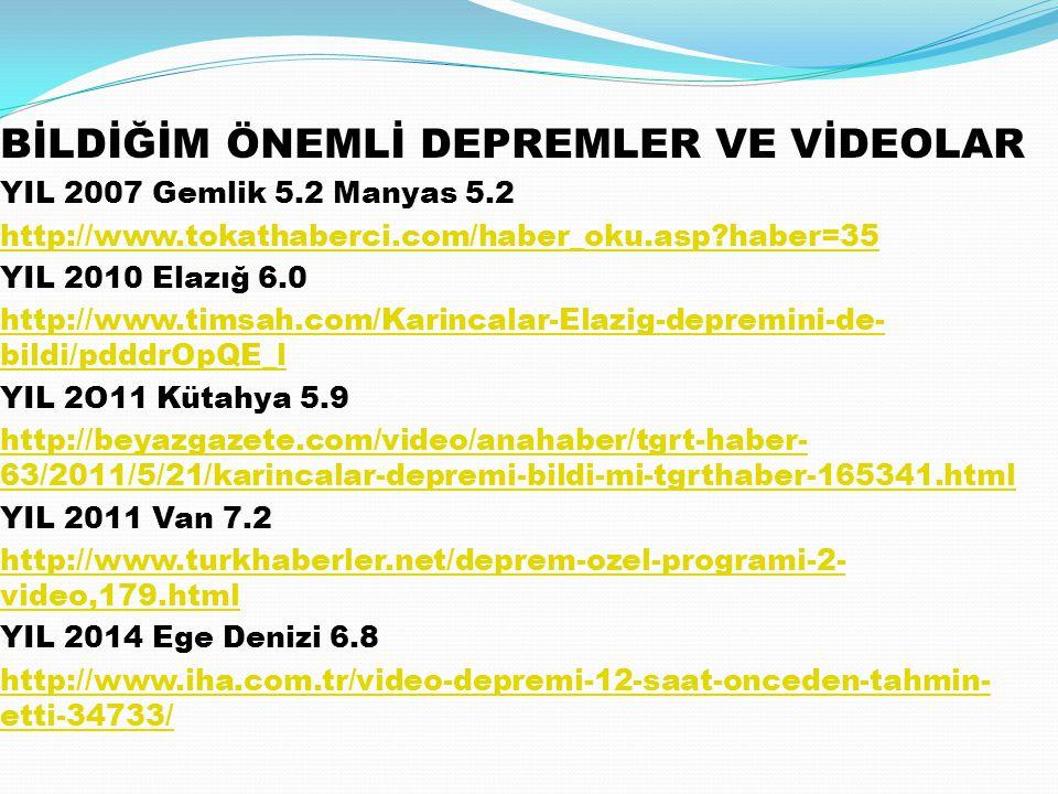 BİLDİĞİM ÖNEMLİ DEPREMLER VE VİDEOLAR YIL 2007 Gemlik 5.2 Manyas 5.2 http://www.tokathaberci.com/haber_oku.asp?haber=35 YIL 2010 Elazığ 6.0 http://www