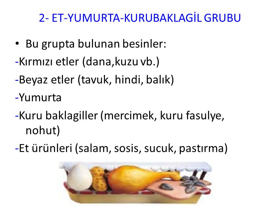 2- ET-YUMURTA-KURUBAKLAGİL GRUBU Bu grupta bulunan besinler: -Kırmızı etler (dana,kuzu vb.) -Beyaz etler (tavuk, hindi, balık) -Yumurta -Kuru baklagil