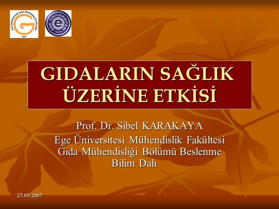 27.05.2007 Prof. Dr. Sibel KARAKAYA Ege Üniversitesi Mühendislik Fakültesi Gıda Mühendisliği Bölümü Beslenme Bilim Dalı GIDALARIN SAĞLIK ÜZERİNE ETKİS