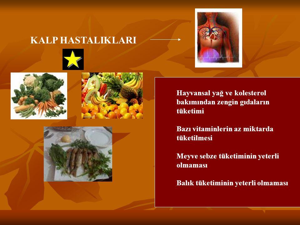 KALP HASTALIKLARI Hayvansal yağ ve kolesterol bakımından zengin gıdaların tüketimi Bazı vitaminlerin az miktarda tüketilmesi Meyve sebze tüketiminin y