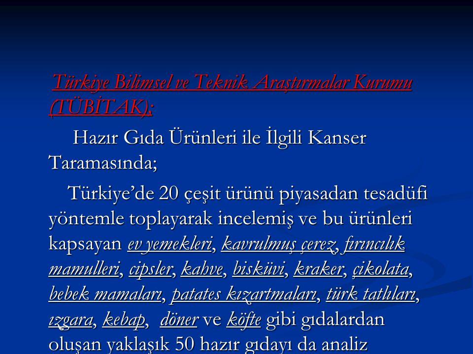 Türkiye Bilimsel ve Teknik Araştırmalar Kurumu (TÜBİTAK); Türkiye Bilimsel ve Teknik Araştırmalar Kurumu (TÜBİTAK); Hazır Gıda Ürünleri ile İlgili Kanser Taramasında; Hazır Gıda Ürünleri ile İlgili Kanser Taramasında; Türkiye'de 20 çeşit ürünü piyasadan tesadüfi yöntemle toplayarak incelemiş ve bu ürünleri kapsayan ev yemekleri, kavrulmuş çerez, fırıncılık mamulleri, cipsler, kahve, bisküvi, kraker, çikolata, bebek mamaları, patates kızartmaları, türk tatlıları, ızgara, kebap, döner ve köfte gibi gıdalardan oluşan yaklaşık 50 hazır gıdayı da analiz etmiştir.