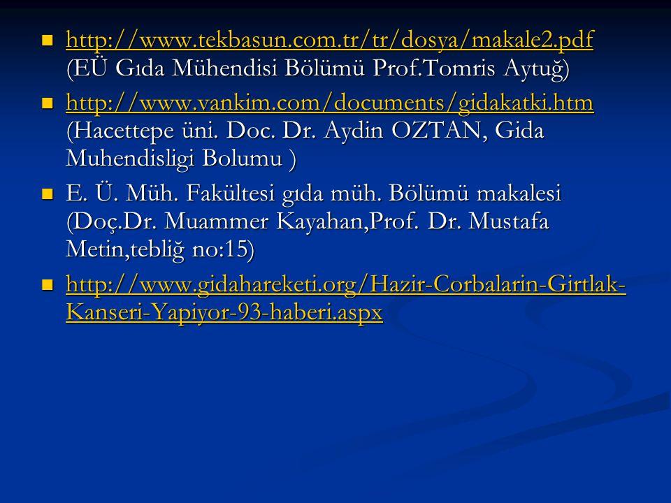 http://www.tekbasun.com.tr/tr/dosya/makale2.pdf (EÜ Gıda Mühendisi Bölümü Prof.Tomris Aytuğ) http://www.tekbasun.com.tr/tr/dosya/makale2.pdf (EÜ Gıda