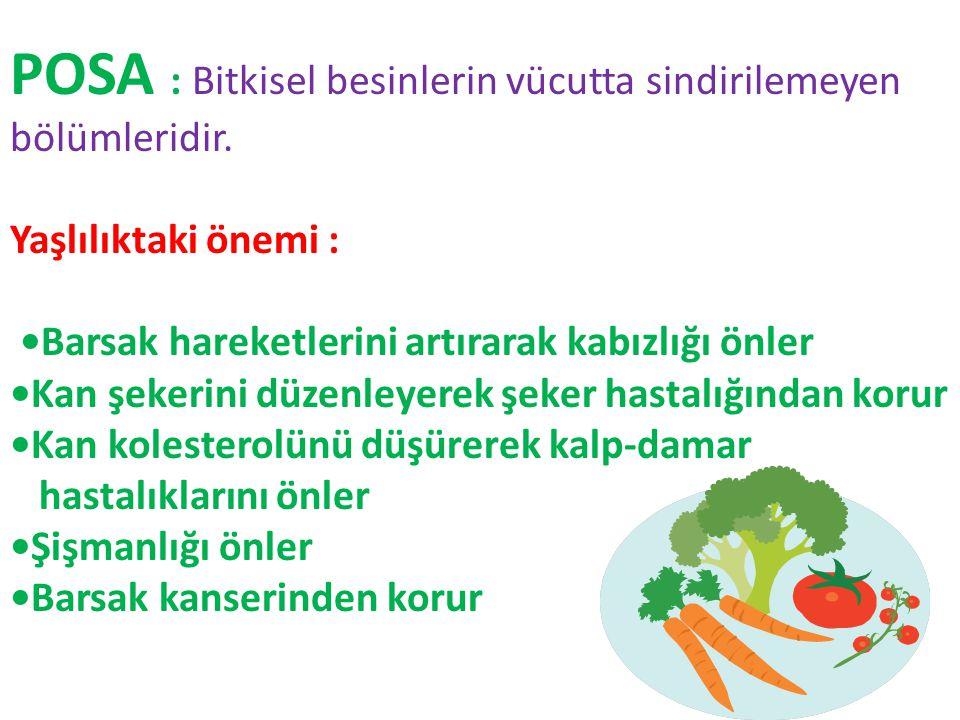 POSA : Bitkisel besinlerin vücutta sindirilemeyen bölümleridir. Yaşlılıktaki önemi : Barsak hareketlerini artırarak kabızlığı önler Kan şekerini düzen