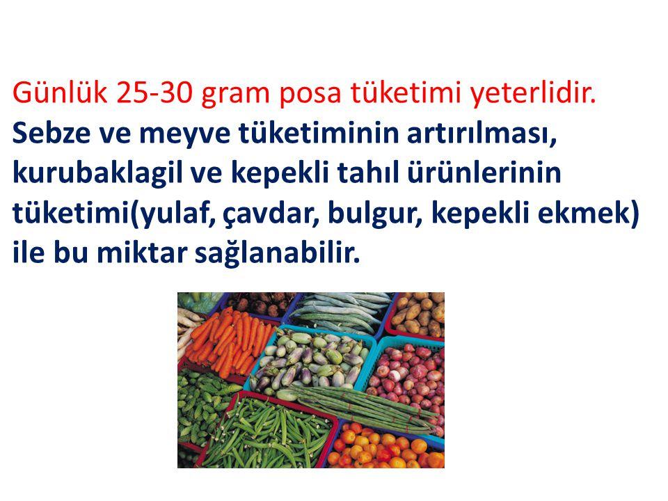 Günlük 25-30 gram posa tüketimi yeterlidir. Sebze ve meyve tüketiminin artırılması, kurubaklagil ve kepekli tahıl ürünlerinin tüketimi(yulaf, çavdar,