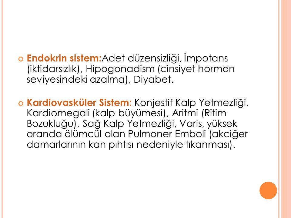 Endokrin sistem: Adet düzensizliği, İmpotans (iktidarsızlık), Hipogonadism (cinsiyet hormon seviyesindeki azalma), Diyabet. Kardiovasküler Sistem: Kon