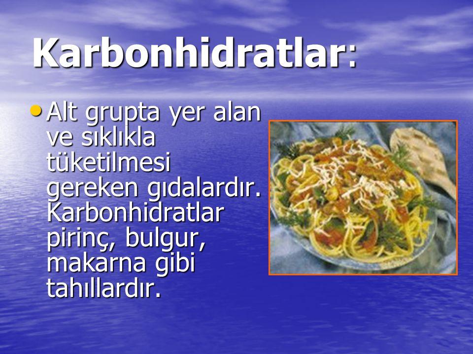 Karbonhidratlar: Alt grupta yer alan ve sıklıkla tüketilmesi gereken gıdalardır. Karbonhidratlar pirinç, bulgur, makarna gibi tahıllardır. Alt grupta