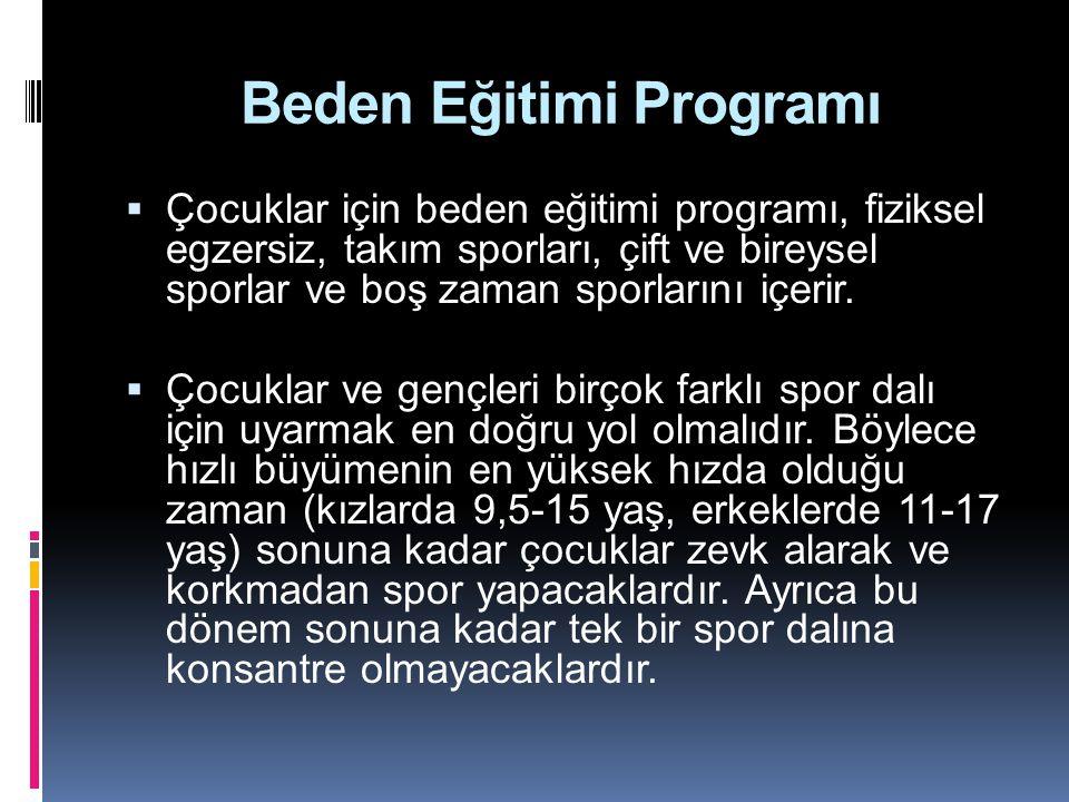 Beden Eğitimi Programı  Çocuklar için beden eğitimi programı, fiziksel egzersiz, takım sporları, çift ve bireysel sporlar ve boş zaman sporlarını içe