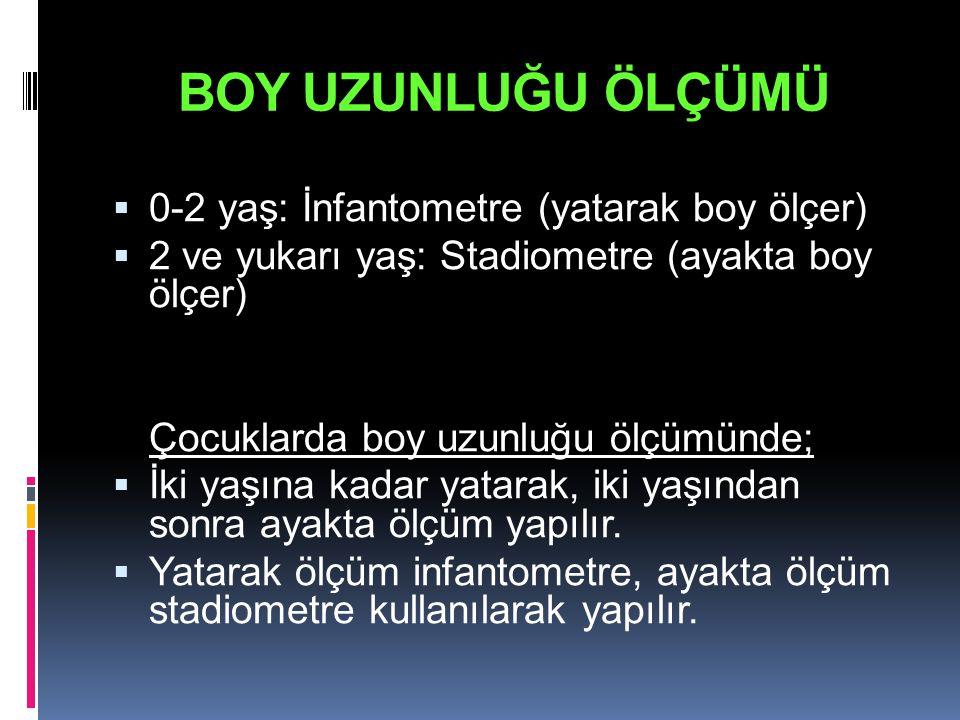 BOY UZUNLUĞU ÖLÇÜMÜ  0-2 yaş: İnfantometre (yatarak boy ölçer)  2 ve yukarı yaş: Stadiometre (ayakta boy ölçer) Çocuklarda boy uzunluğu ölçümünde; 