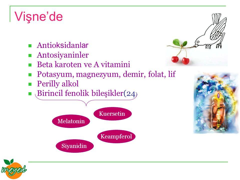 Vişne'de Antio ks idan lar Antosiyaninler Beta karoten ve A vitamini Potasyum, magnezyum, demir, folat, lif Perilly alkol Birincil fenolik bileşikler(24 ) Melatonin Siyanidin Kuersetin Keampferol