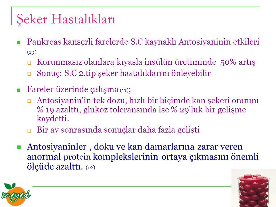 Şeker Hastalıkları Pankreas kanserli farelerde S.C kaynaklı Antosiyaninin etkileri (19)  Korunmasız olanlara kıyasla insülün üretiminde 50% artış  Sonuç: S.C 2.tip şeker hastalıklarını önleyebilir Fareler üzerinde çalışma (11) ;  Antosiyanin'in tek dozu, hızlı bir biçimde kan şekeri oranını % 19 azalttı, glukoz toleransında ise % 29'luk bir gelişme kaydetti.