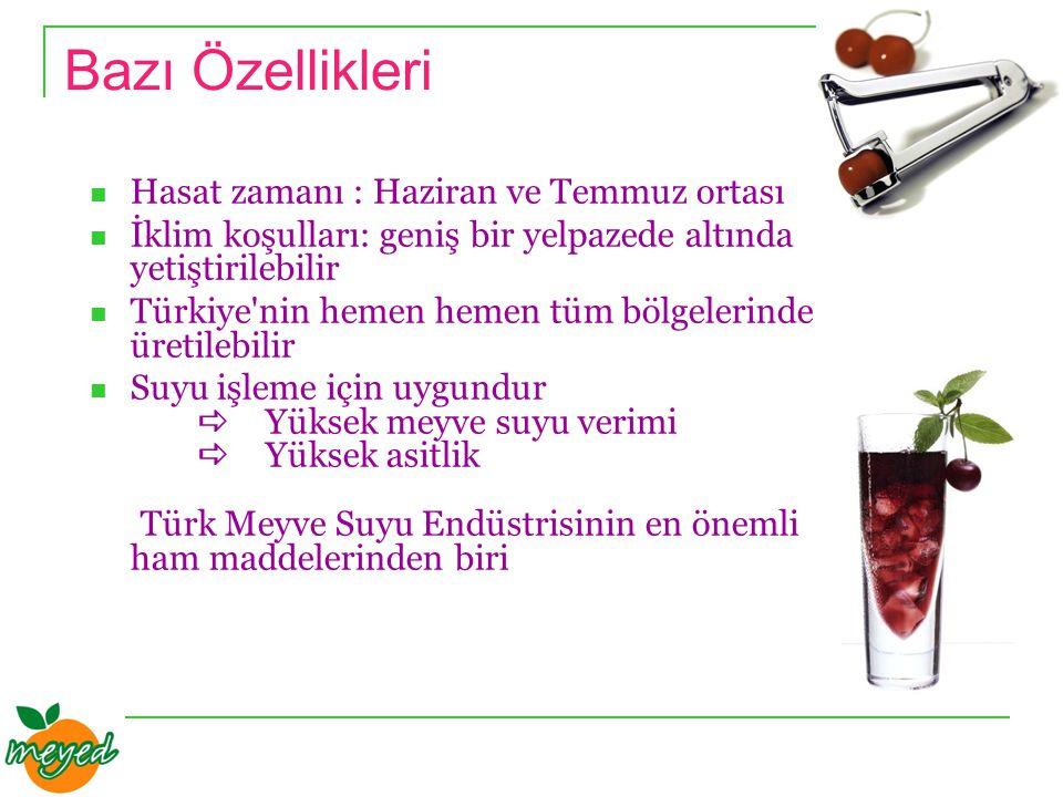 Bazı Özellikleri Hasat zamanı : Haziran ve Temmuz ortası İklim koşulları: geniş bir yelpazede altında yetiştirilebilir Türkiye nin hemen hemen tüm bölgelerinde üretilebilir Suyu işleme için uygundur  Yüksek meyve suyu verimi  Yüksek asitlik Türk Meyve Suyu Endüstrisinin en önemli ham maddelerinden biri