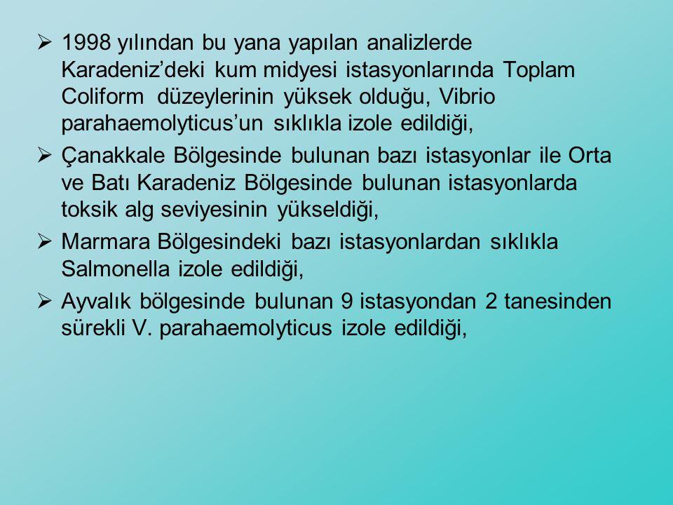  1998 yılından bu yana yapılan analizlerde Karadeniz'deki kum midyesi istasyonlarında Toplam Coliform düzeylerinin yüksek olduğu, Vibrio parahaemolyt