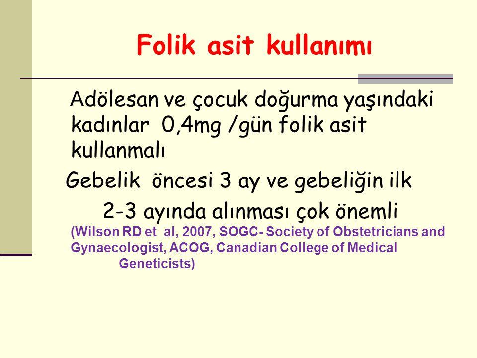 Folik asit kullanımı A dölesan ve çocuk doğurma yaşındaki kadınlar 0,4mg /gün folik asit kullanmalı Gebelik öncesi 3 ay ve gebeliğin ilk 2-3 ayında al