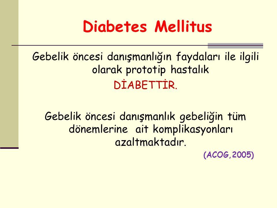 Diabetes Mellitus Gebelik öncesi danışmanlığın faydaları ile ilgili olarak prototip hastalık DİABETTİR. Gebelik öncesi danışmanlık gebeliğin tüm dönem