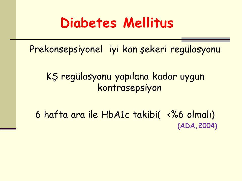 Diabetes Mellitus Prekonsepsiyonel iyi kan şekeri regülasyonu KŞ regülasyonu yapılana kadar uygun kontrasepsiyon 6 hafta ara ile HbA1c takibi( <%6 olm