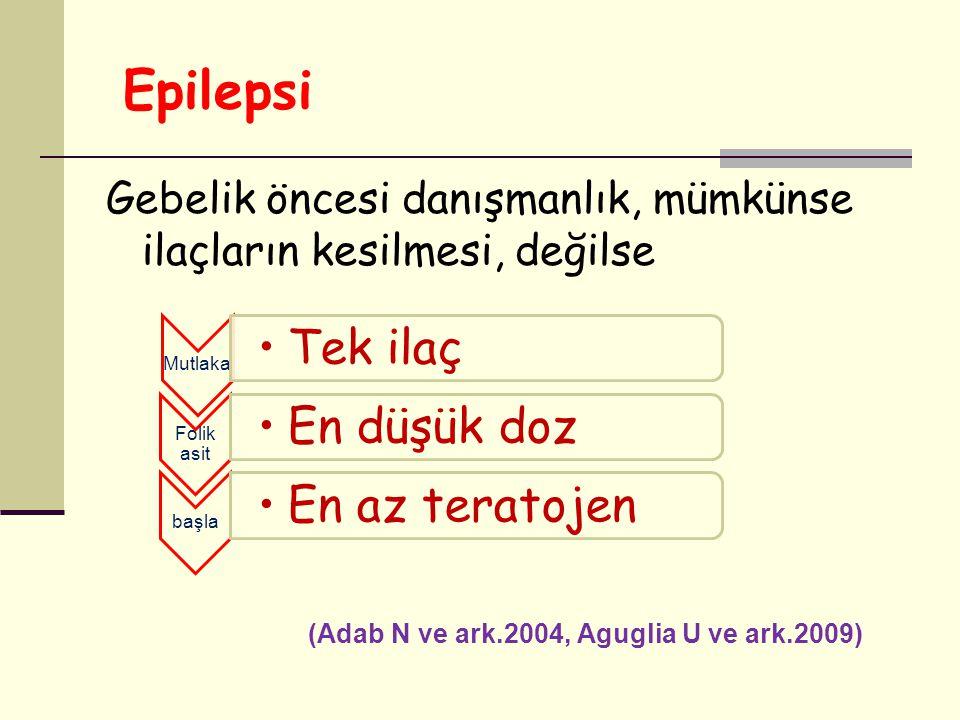 Epilepsi Gebelik öncesi danışmanlık, mümkünse ilaçların kesilmesi, değilse (Adab N ve ark.2004, Aguglia U ve ark.2009) Mutlaka Tek ilaç Folik asit En