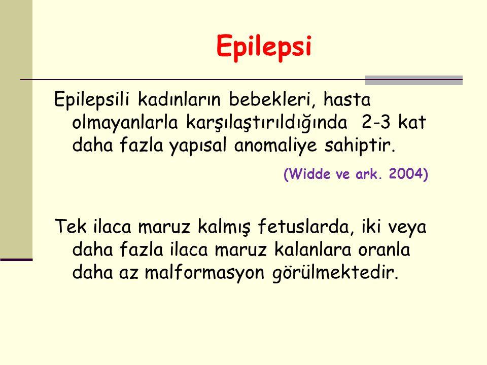 Epilepsi Epilepsili kadınların bebekleri, hasta olmayanlarla karşılaştırıldığında 2-3 kat daha fazla yapısal anomaliye sahiptir. (Widde ve ark. 2004)