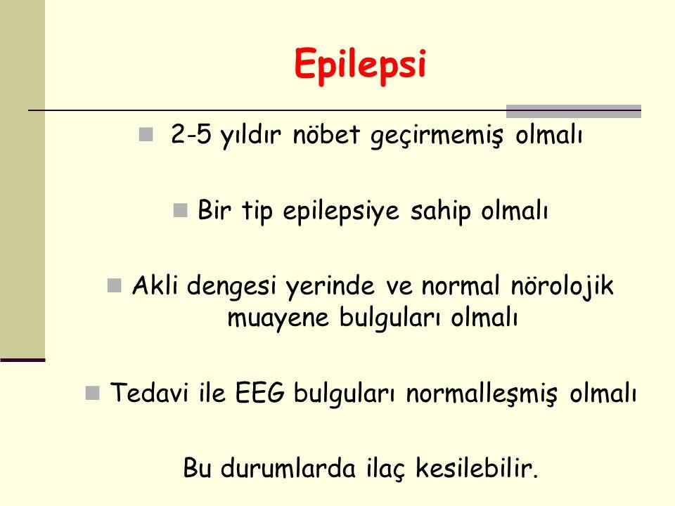 Epilepsi 2-5 yıldır nöbet geçirmemiş olmalı Bir tip epilepsiye sahip olmalı Akli dengesi yerinde ve normal nörolojik muayene bulguları olmalı Tedavi i