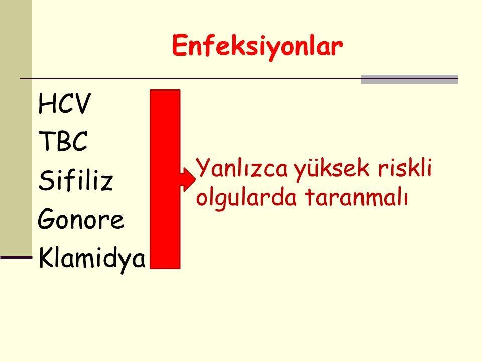 Enfeksiyonlar HCV TBC Sifiliz Gonore Klamidya Yanlızca yüksek riskli olgularda taranmalı