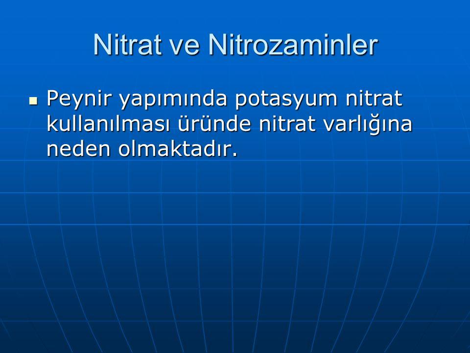Nitrat ve Nitrozaminler Peynir yapımında potasyum nitrat kullanılması üründe nitrat varlığına neden olmaktadır. Peynir yapımında potasyum nitrat kulla