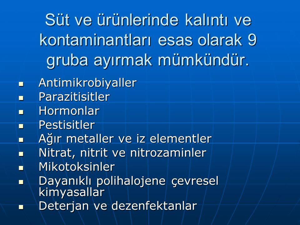 Süt ve ürünlerinde kalıntı ve kontaminantları esas olarak 9 gruba ayırmak mümkündür. Antimikrobiyaller Antimikrobiyaller Parazitisitler Parazitisitler