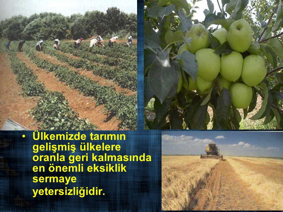 Ülkemizde tarımın gelişmiş ülkelere oranla geri kalmasında en önemli eksiklik sermaye yetersizliğidir.