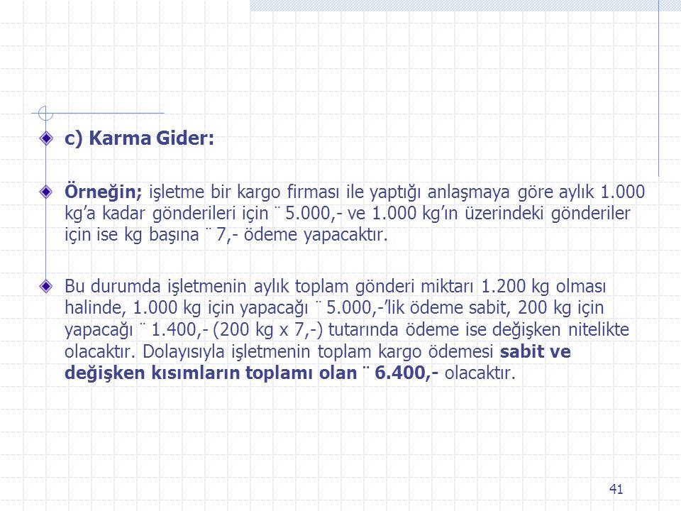 c) Karma Gider: Örneğin; işletme bir kargo firması ile yaptığı anlaşmaya göre aylık 1.000 kg'a kadar gönderileri için ¨ 5.000,- ve 1.000 kg'ın üzerindeki gönderiler için ise kg başına ¨ 7,- ödeme yapacaktır.