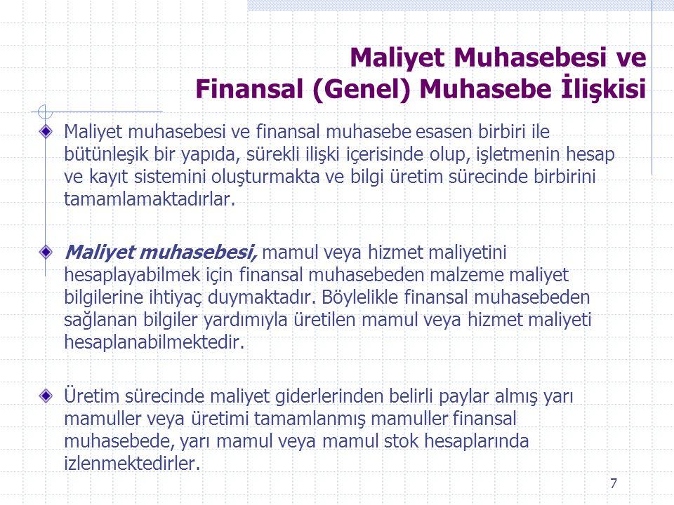 Maliyet Muhasebesi ve Finansal (Genel) Muhasebe İlişkisi Maliyet muhasebesi ve finansal muhasebe esasen birbiri ile bütünleşik bir yapıda, sürekli ili