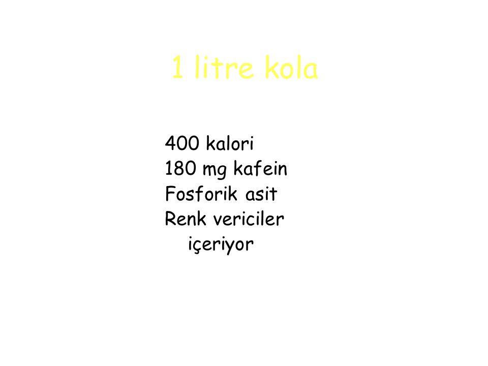 1 litre kola 400 kalori 180 mg kafein Fosforik asit Renk vericiler içeriyor