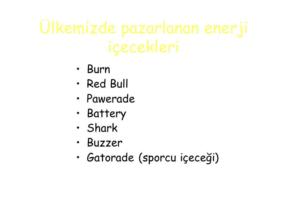 Ülkemizde pazarlanan enerji içecekleri Burn Red Bull Pawerade Battery Shark Buzzer Gatorade (sporcu içeceği)