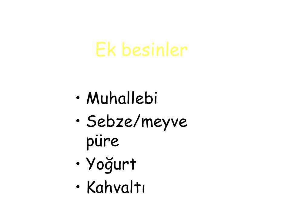 Ek besinler Muhallebi Sebze/meyve püre Yoğurt Kahvaltı