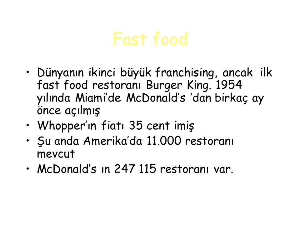 Fast food Dünyanın ikinci büyük franchising, ancak ilk fast food restoranı Burger King.