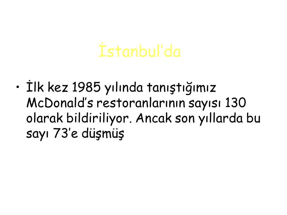 İstanbul'da İlk kez 1985 yılında tanıştığımız McDonald's restoranlarının sayısı 130 olarak bildiriliyor.