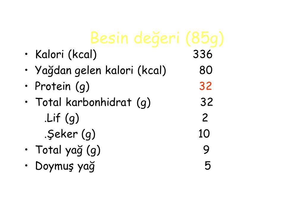Besin değeri (85g) Kalori (kcal) 336 Yağdan gelen kalori (kcal) 80 Protein (g) 32 Total karbonhidrat (g) 32.Lif (g) 2.Şeker (g) 10 Total yağ (g) 9 Doymuş yağ 5