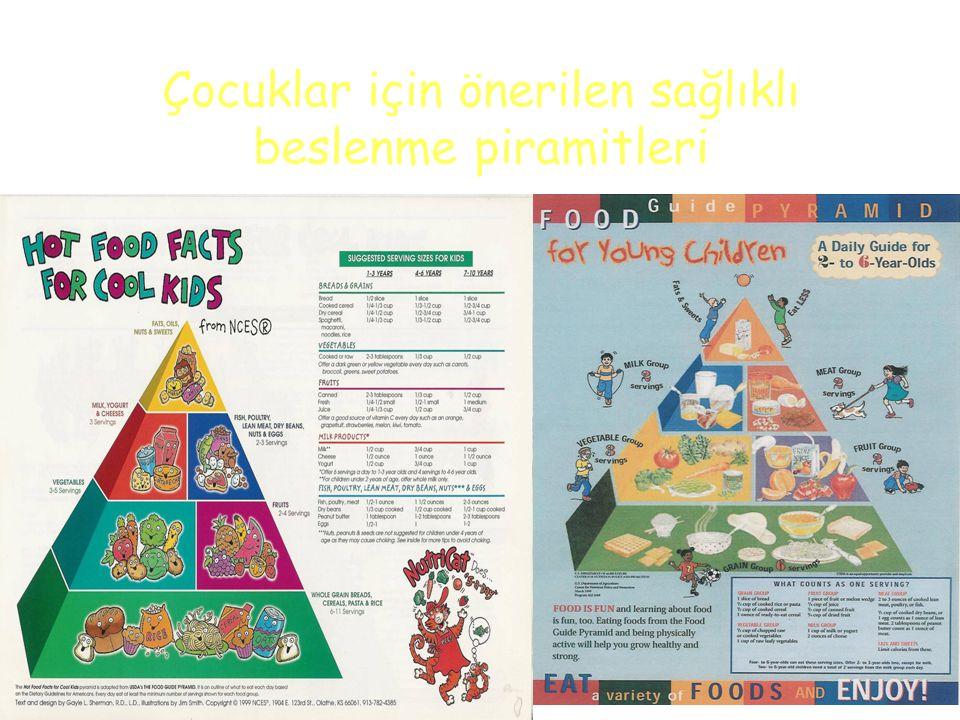 Çocuklar için önerilen sağlıklı beslenme piramitleri