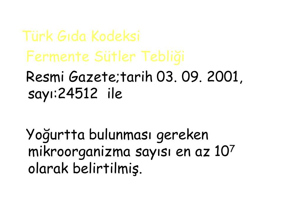 Türk Gıda Kodeksi Fermente Sütler Tebliği Resmi Gazete;tarih 03.