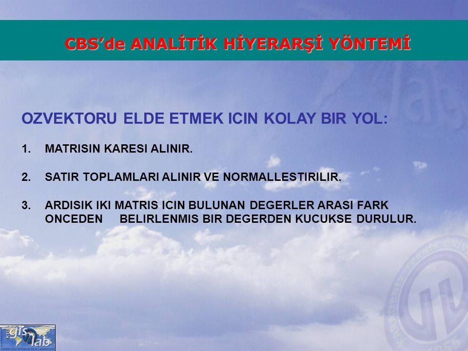 OZVEKTORU ELDE ETMEK ICIN KOLAY BIR YOL: 1.MATRISIN KARESI ALINIR. 2.SATIR TOPLAMLARI ALINIR VE NORMALLESTIRILIR. 3.ARDISIK IKI MATRIS ICIN BULUNAN DE
