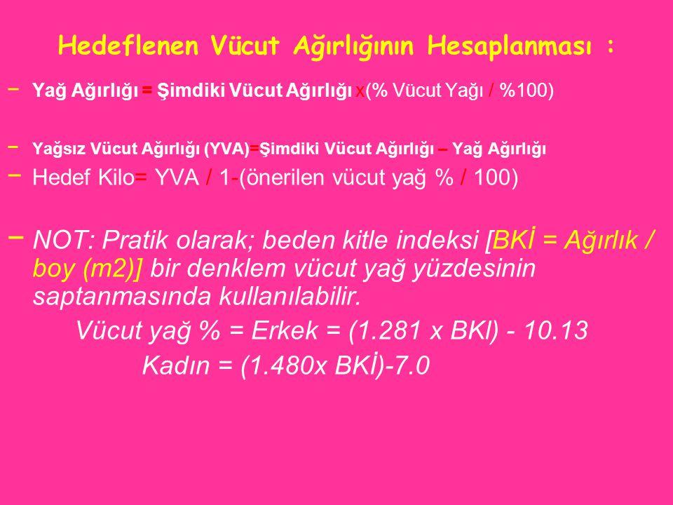 Hedeflenen Vücut Ağırlığının Hesaplanması : − Yağ Ağırlığı = Şimdiki Vücut Ağırlığı x(% Vücut Yağı / %100) − Yağsız Vücut Ağırlığı (YVA)=Şimdiki Vücut