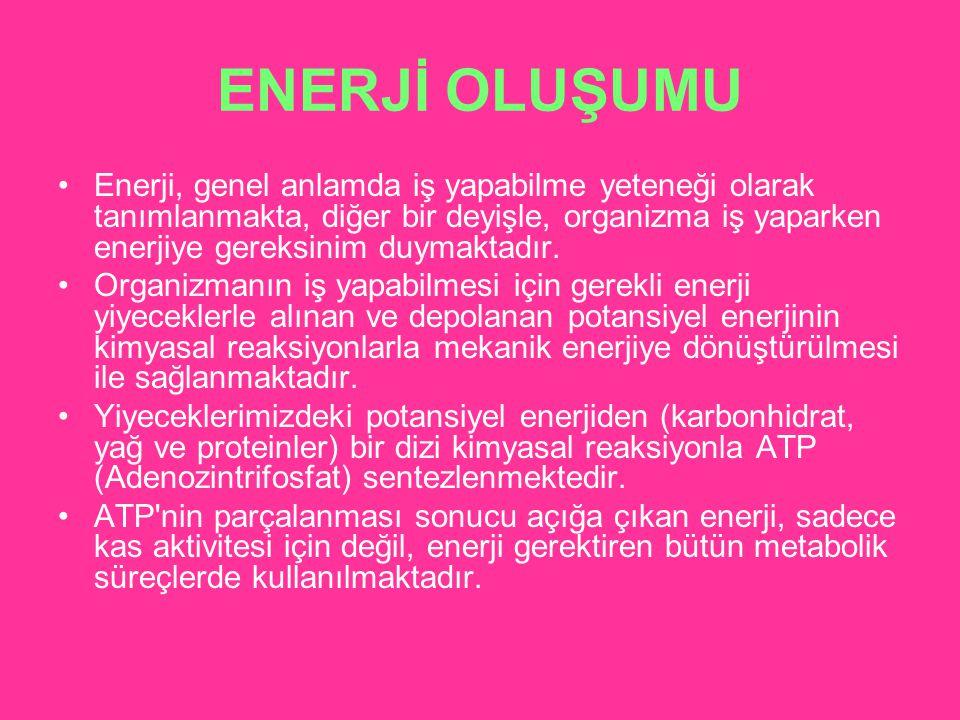 ENERJİ OLUŞUMU Enerji, genel anlamda iş yapabilme yeteneği olarak tanımlanmakta, diğer bir deyişle, organizma iş yaparken enerjiye gereksinim duymakta