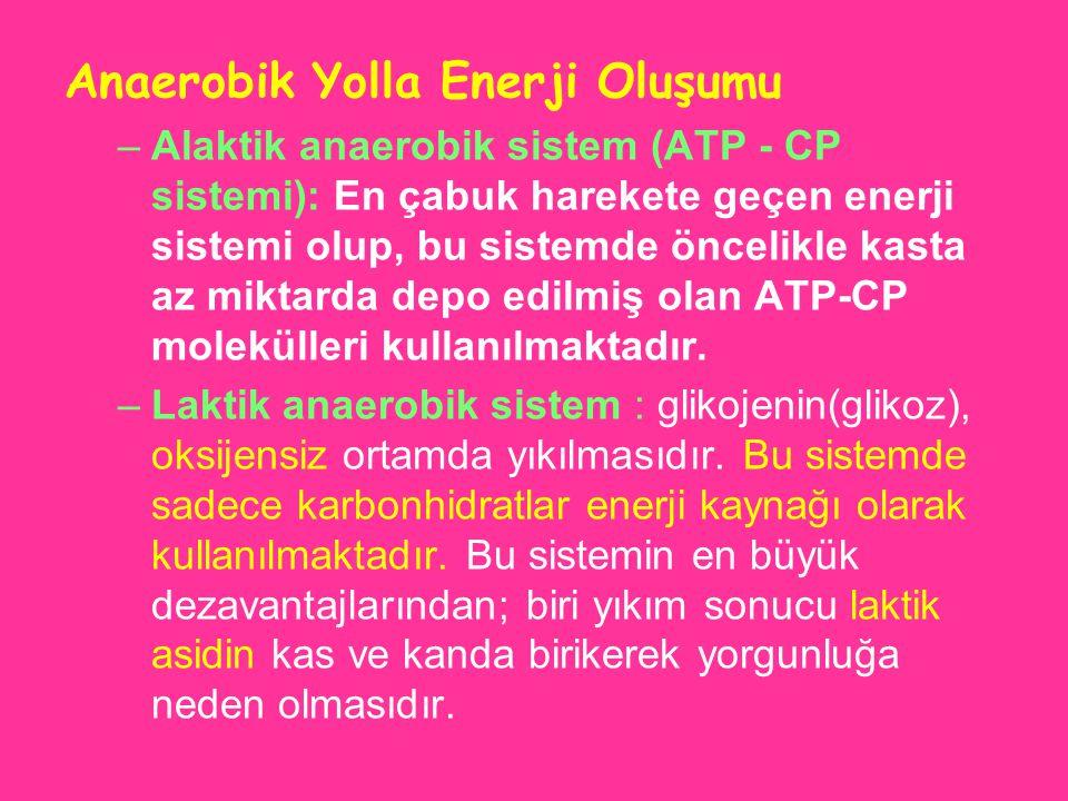 Anaerobik Yolla Enerji Oluşumu –Alaktik anaerobik sistem (ATP - CP sistemi): En çabuk harekete geçen enerji sistemi olup, bu sistemde öncelikle kasta